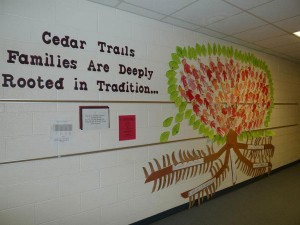 This artistic work was the first place winner by kindergarteners at Cedar Trails Elementary.