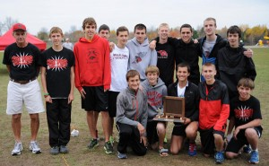 The Cedar Springs boys Red Hawk Cross Country team are OK Bronze champions.