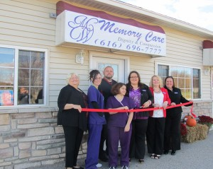 MW Memory Care who had their grand opening and ribbon cutting Saturday, October 27. Pictured is: (Left to Right): Mary Willett, Lindsey Mosher, Kayla Willett, Cedar Springs Area Chamber president Shawn Kiphart, Owner Mindi Willett, Heather Sova-Shevock, and Katie Reynolds.