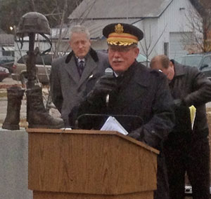 Colonel Tom Noreen gave the Veterans Day address at Veterans Park Monday. Photo by Harrison Owens.