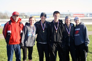Four Red Hawk cross country runners won all-state honors last weekend. Pictured from left to right is Coach Ted Sabinas, Kenzie Weiler, Connor Mora, Austin Sargent, Katie Weiler and Coach Jen Kahler.