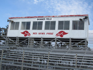 PEELING PAINT—The school district only has the budget to do basic maintenance at Skinner Field. Post photo by J. Reed.