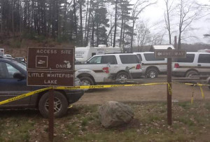 Emergency teams searched Little Whitefish Lake for Dalton Gustinis, 15. Photo from WOODTV.com.