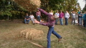 The hay bale toss was part of FFA Olympics.