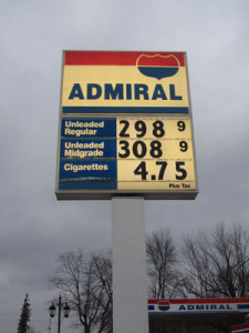 Gas had dropped to $2.98 per gallon in Cedar Springs at press time Wednesday. Photo by J. Reed