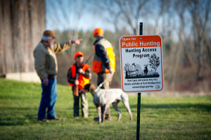 Hunters will see new signs like these posted on properties that participate in the Department of Natural Resources Hunting Access Program. HAP provides greater access to hunting opportunities on private land, especially in southern Michigan. Photo by Michigan DNR.