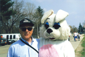 Roger posing with the Easter Bunny at the Posts annual Easter Egg Hunt.