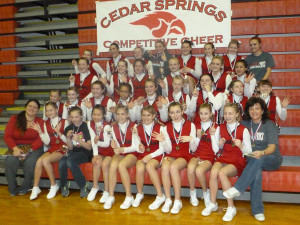 Middle School cheer took first place.