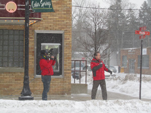Fox 17 Meteorologist Kevin Craig does the weather from Cedar Springs. 