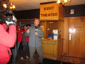 Kevin Craig at the Kent Theatre ticket booth.