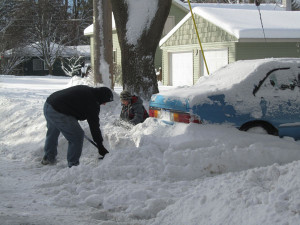 Digging out was a common sight all across the area Friday, February 8. Post photo by J. Reed.