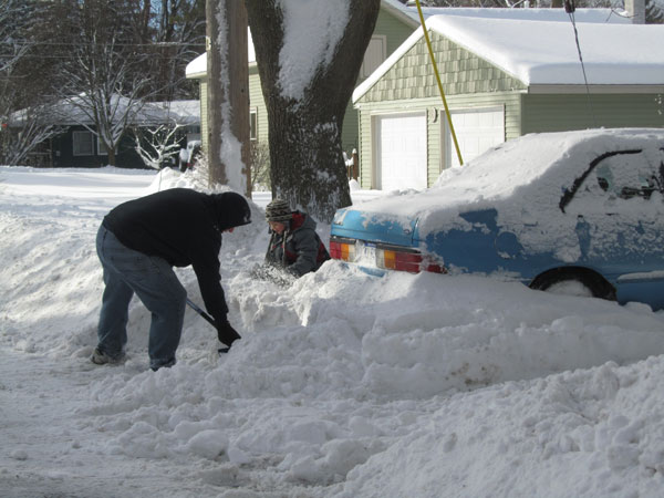 Digging out was a common sight all across the area last Friday, February 8. Post photo by J. Reed.