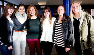 Megan Grattan (third from left) and her new friends in Denmark.