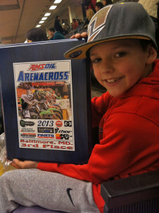 Trentyn Roelofs, 9, took third place at the arena cross race in Baltimore.
