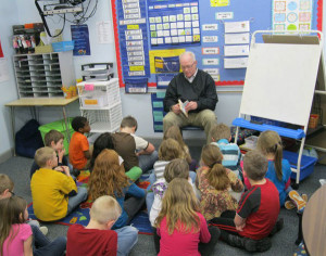 School Leader, Dan George, reads to the CTA 2nd graders