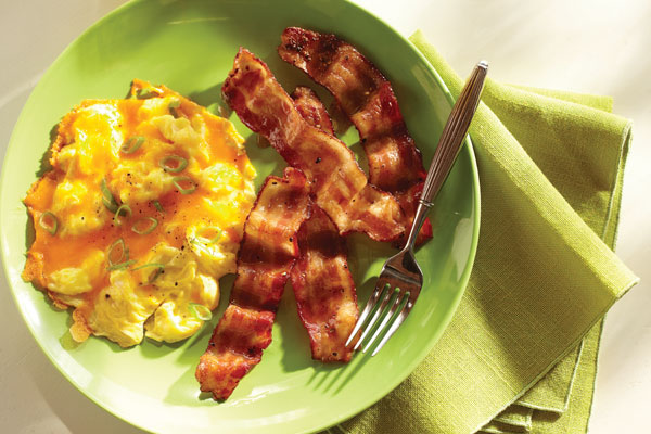 Spicy Candied Bacon with eggs