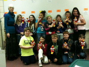 Mrs. Baas's class with Librarian Donna Clark (left)
