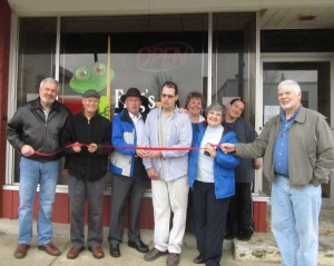 Frogs Legendary Billiards had their grand opening and ribbon cutting on Friday, April 12. From left to right: Cedar Springs City Manager Thad Taylor, Ron Schreer, Mayor Bob Truesdale, owner Alex Schreer, Caron Davis, CJ Teahan, Cody Jackson, and Larry Teahan. 