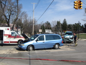 At least two people were hurt when these two cars collided at Main and Muskegon in Cedar Springs. Post photo by J. Reed.