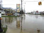 The intersection at Main and Pine Street was covered in water.