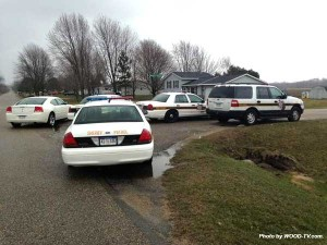 A standoff south of Cedar Springs ended peacefully Saturday after the suspect turned himself in.