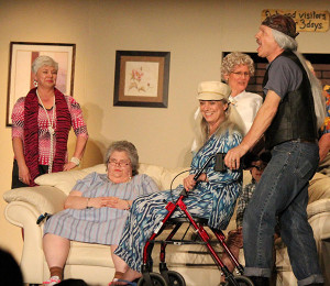 (L to R):  Judy Schultz, Liz Clifford, Chris Bigney, and Russ Cole in a scene from Old Folks at Home.