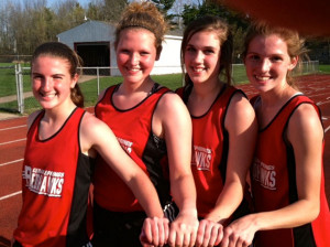 The Cedar Springs Middle School Girls 400 relay team set a school record.