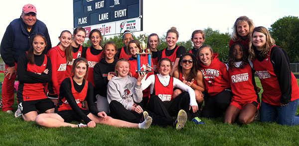 CSMS girls track are 8th grade conference champs.