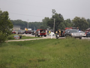 Two trucks and two cars were involved in this multi-car accident on 14 Mile near Podunk in Oakfield Township Tuesday afternoon. Post photo by J. Reed.