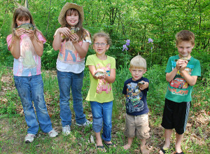 Some of the kids with their catch.