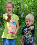 Emma Stanley (6 years)  and Cale Johnson (3 years) with their bluegills.