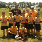 Tri County AYSO U10 boys took first place in the AYSO section 8 state soccer tournament. Back row: Coach Joe Nawrocki, Caden Hoezee, Coach Dave Corbett Middle row Dylan Mulnix, John Funk, Cody Blake, Matt Stevens, Frankie Sylvester, Jimmy Sylvester. Front row Brian Corbett, Ethan Nawrocki.