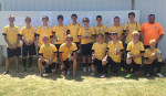 Tri County AYSO U19 boys took fourth place in the AYSO section 8 state soccer tournament. Back row: Tristan Briggs, Aaron Jason, Austin Olson, Jordan Kohn, Marco Lagunas, Lucas Prater, Jordan Olson, Bobby Johnson, Mark Olson. Front row: Brandon Olson, Brandon Moore, Miguel Lagunas, Alex Kerslake, Dalton Hannah, and Jacob Rosco.