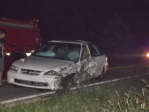The driver of this car fell asleep and hit an oncoming vehicle the evening of July 4.