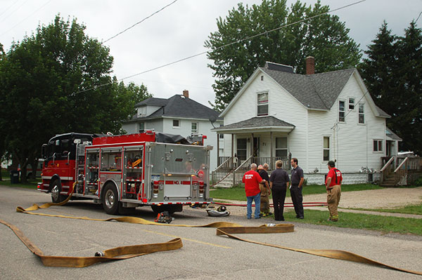 A small fire was found in an upstairs bedroom window of this home at 71 N. Second Street last Saturday morning.