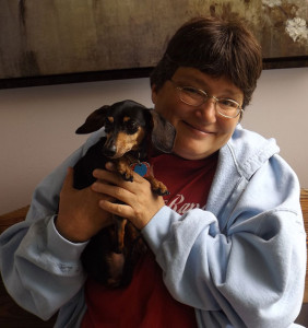 Julie Haff and Nickie, her little Dachsund.