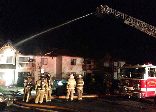 A fire in the Kent Ridge Apartments in Kent City last week has left several people homeless. Photo from WOODTV.com.