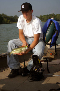 Eric Payne with a bass caught on a molded worm.