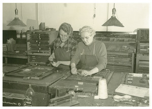 Nina Babcock (left) and Grace Hamilton (right) working on the newspaper in later years. Photo courtesy CS Historical Society.