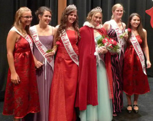Pictured (L to R): 2012 Court member Jordyn Nichols; 2013 Court member Hannah Sommer; 2012 Queen Dani George; 2013 Queen Alexis Lucarelli; 2013 Court member Julianne Schut; and 2012 Court member Kellie Spahr.