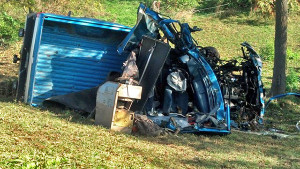 A man died in this one car crash in Spencer Township. Photo from Woodtv.com.