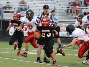 JV Red Hawk Anthony Topolski runs with the ball during their 38-6 win over Northview last Thursday. Photo by Kelly Alvesteffer.