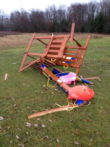 Clare Armstrong, of Sand Lake, sent us this photo of a swingset blown across her yard.