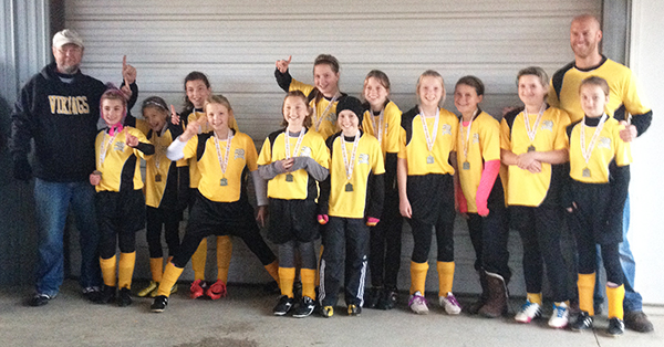 Tri County U12 Girls take first place at the Allegan AYSO Halloween Classic Invitational