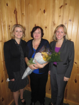 Pictured from left to right:  Shelly Westbrook, Foundation Director Sadie Springsteen, Volunteer – 2013 Suzanne Christensen Award Recipient  Tina Freese-Decker, President
