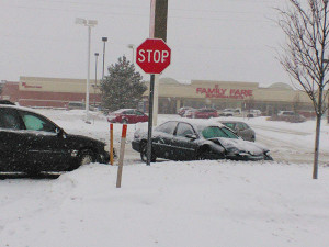 Minor accidents happened all over the area due to slick roads and white outs from blowing snow.