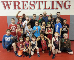 Cedar Springs Youth Wrestlers and their medals.