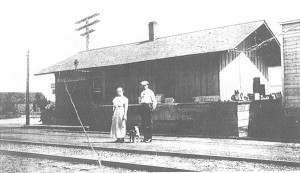 The old Harvard Railroad depot circa 1908. Courtesy of the Cedar Springs Historical Society.