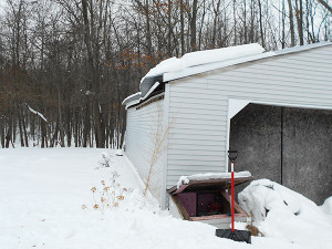The roof on this pole barn collapsed last week after heavy snowfall.