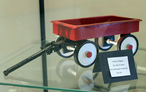 "A piece made from recycled paper materials, ""Jonny's Wagon"" by Danny Johns, is priced at $25 as part of the ""Art From the Inside Out"" exhibit in the Instruction North Art Gallery on MCC's Sidney campus."